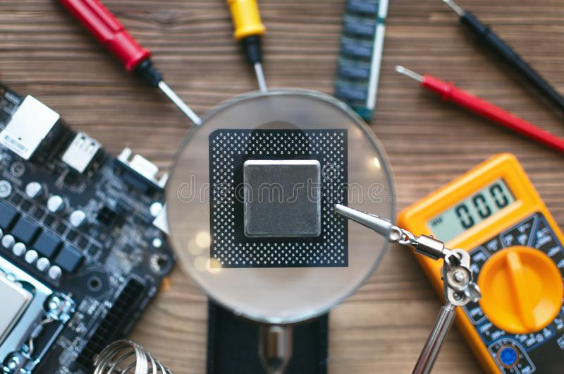 Microplaqueta do processador central fotos de stock