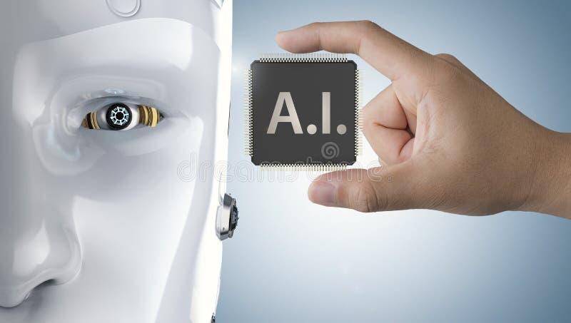 Microplaqueta do processador central do Ai ilustração royalty free