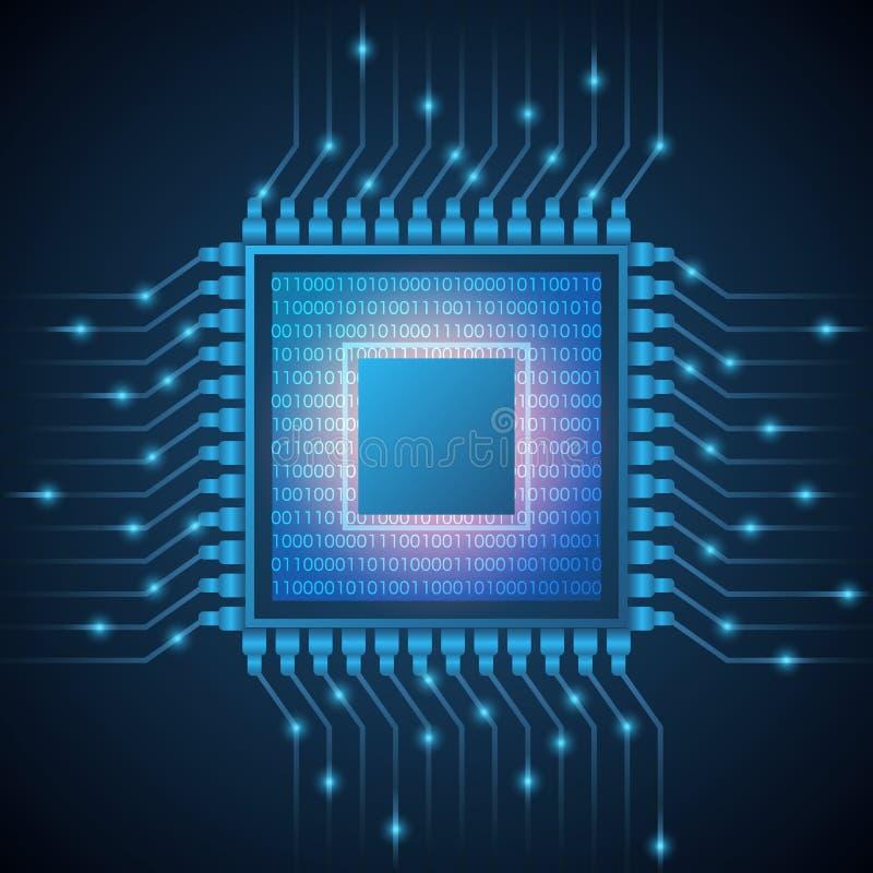 Microplaqueta do sistema de processador do processador central do computador Código binário do fluxo de dados do sumário no micro ilustração royalty free