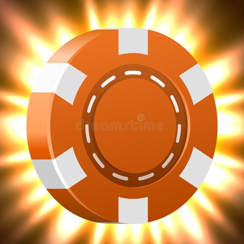 Microplaqueta dourada de incandescência do casino ou de pôquer Conceito do jackpot e do sucesso ilustração do vetor