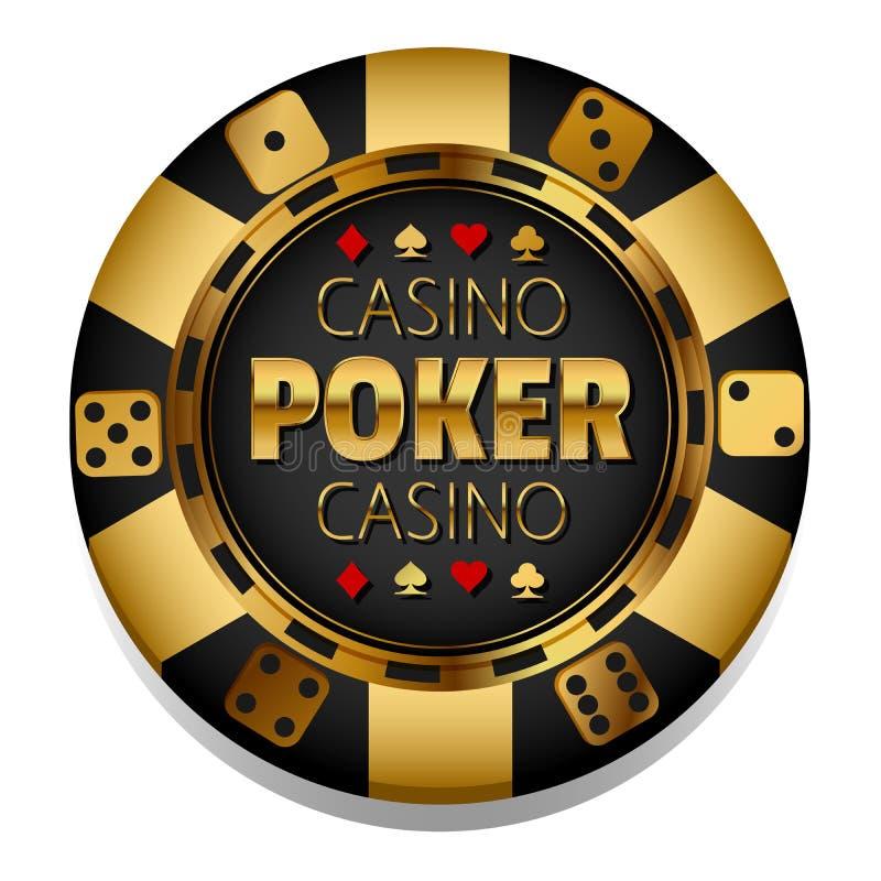 Microplaqueta dourada do casino do vetor gambling ilustração stock