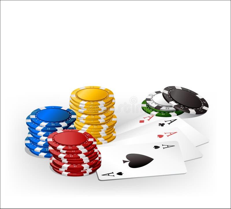 Microplaqueta e cartões de jogo ilustração stock