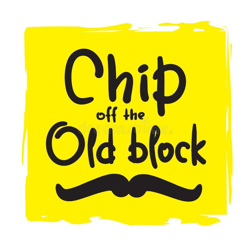 Microplaqueta fora do bloco velho - engraçado inspire e citações inspiradores Rotulação bonita tirada mão ilustração royalty free