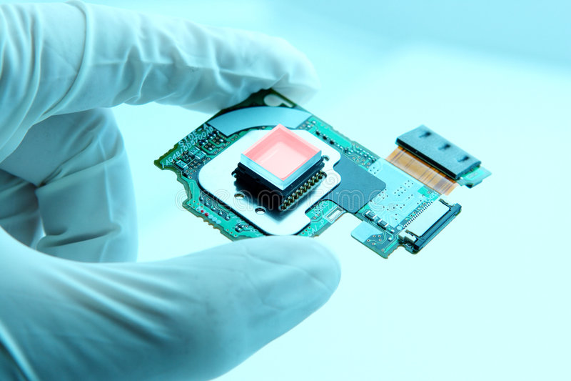 Microplaqueta high-technology imagem de stock royalty free