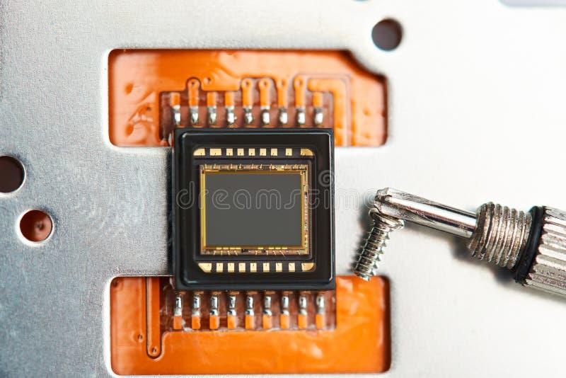 Microplaqueta moderna da câmera do telefone da foto fotos de stock
