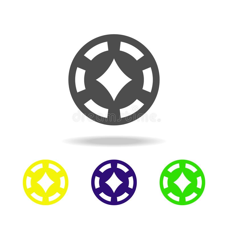 a microplaqueta no casino do pandeiro coloriu ícones O elemento do casino coloriu ícones Pode ser usado para a Web, logotipo, app ilustração royalty free
