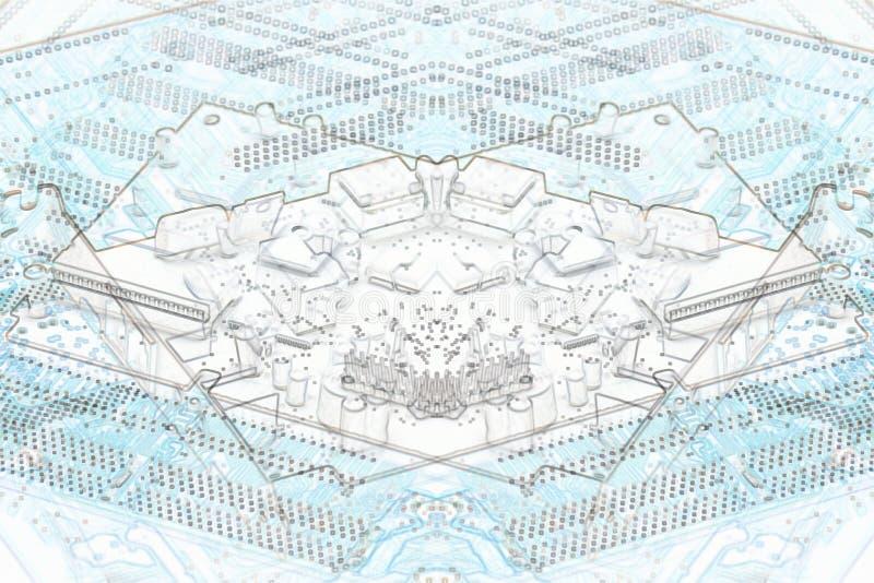 Microplaquetas azuis do fundo da microeletrônica imagem de stock royalty free