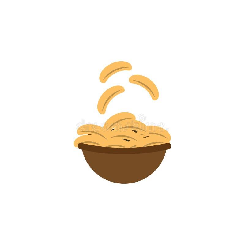Microplaquetas, batata, ícone do alimento Elemento do ícone internacional do alimento da cor ?cone superior do projeto gr?fico da ilustração stock