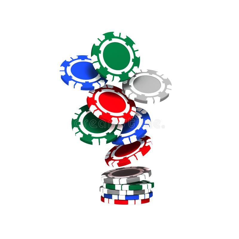 Microplaquetas coloridas do póquer ilustração royalty free