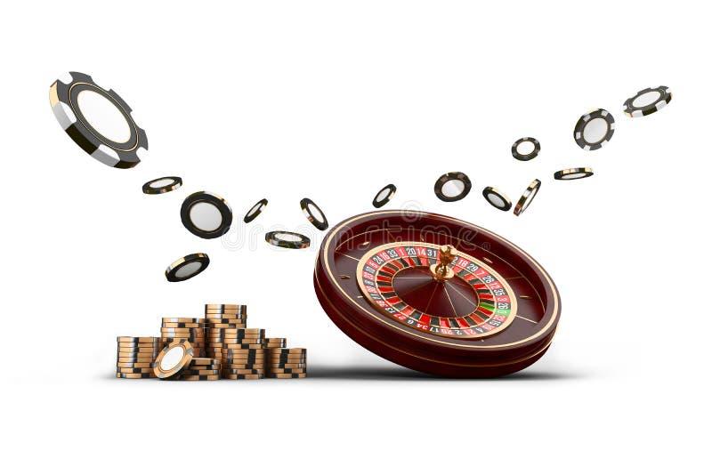 Microplaquetas da roda de roleta do casino isoladas no branco Microplaquetas do jogo 3D do casino Bandeira em linha do casino Mic ilustração royalty free