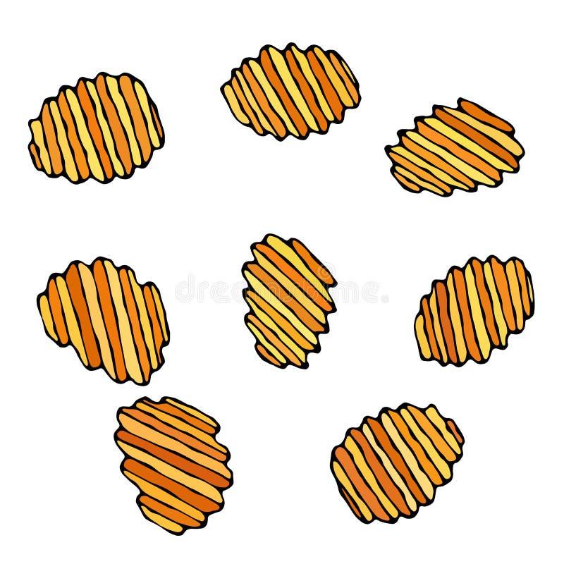 Microplaquetas de batata enrugado ou onduladas Petisco da cerveja Figura cortes da faca do vegetal Cinzelado cozinhando o ingredi ilustração royalty free