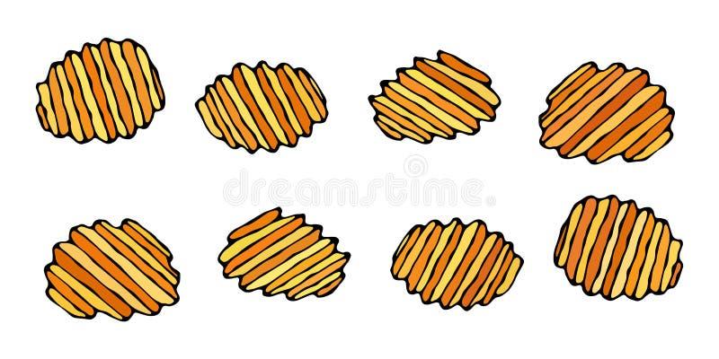 Microplaquetas de batata enrugado ou onduladas Petisco da cerveja Figura cortes da faca do vegetal Cinzelado cozinhando o ingredi ilustração do vetor