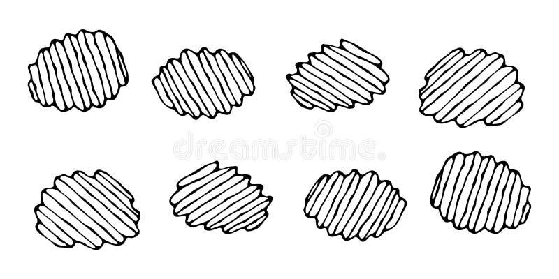 Microplaquetas de batata enrugado ou onduladas Petisco da cerveja Figura cortes da faca do vegetal Cinzelado cozinhando o ingredi ilustração stock