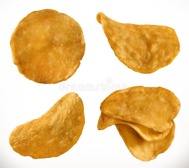 Microplaquetas de batata, grupo do ícone do vetor 3d ilustração do vetor