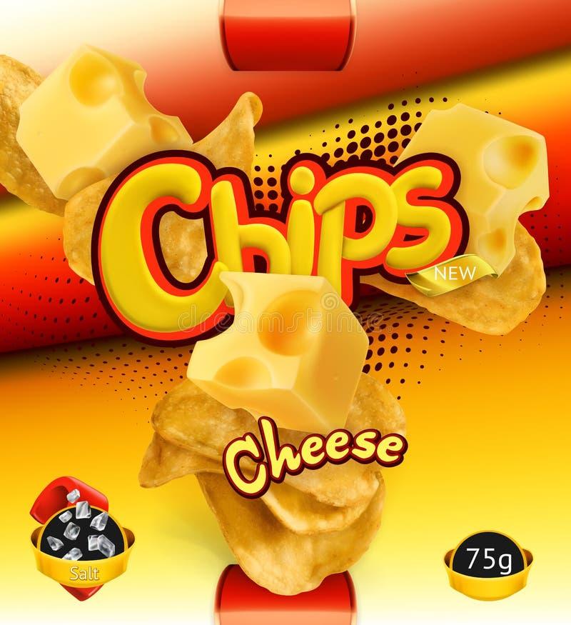 Microplaquetas de batata Sabor do queijo Projeto que empacota, molde do vetor ilustração royalty free