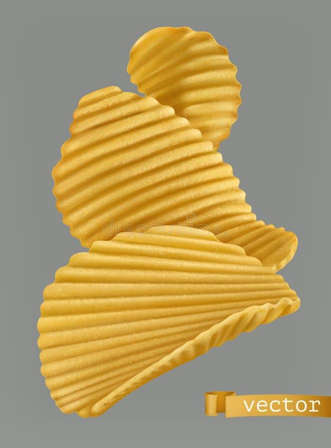 Microplaquetas de batata vetor 3d ilustração do vetor