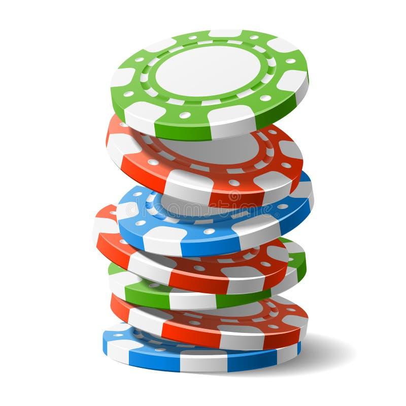 Microplaquetas de queda do casino ilustração royalty free