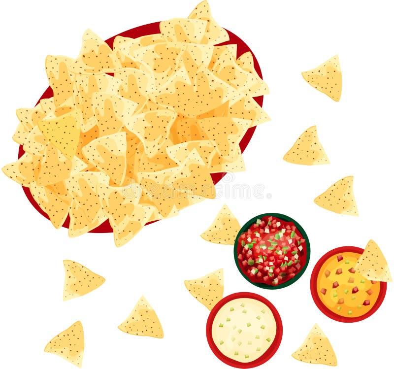 Microplaquetas de tortilha com vários mergulhos da salsa e de queijo no fundo branco fotografia de stock royalty free