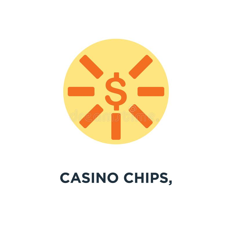 microplaquetas do casino, ícone das microplaquetas do casino desi do símbolo do conceito do sinal de dólar ilustração royalty free