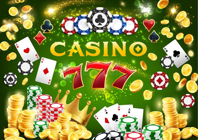 Microplaquetas do casino, cartões do pôquer, 777 e moedas de ouro ilustração stock