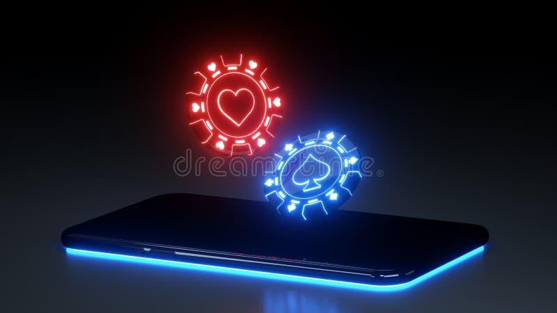Microplaquetas do casino e conceito de jogo do telefone esperto com as luzes de néon isoladas no fundo preto - ilustração 3D ilustração do vetor