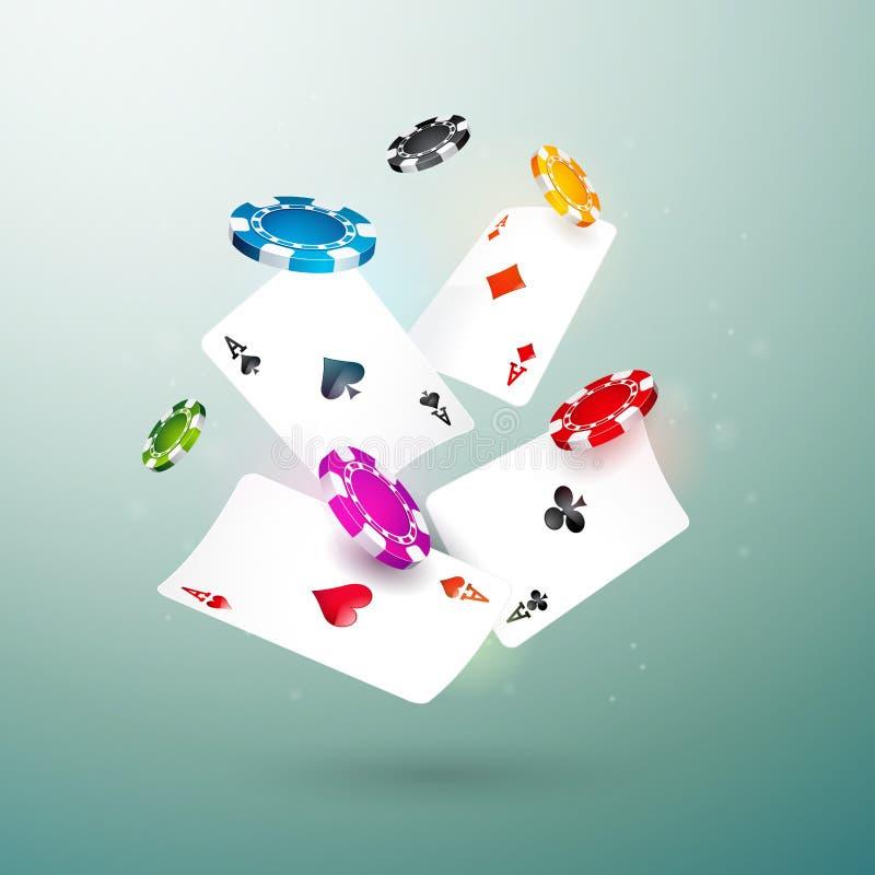 Microplaquetas do casino e ilustração de queda realísticas dos cartões do pôquer no fundo limpo Projeto de conceito de jogo do ve ilustração do vetor