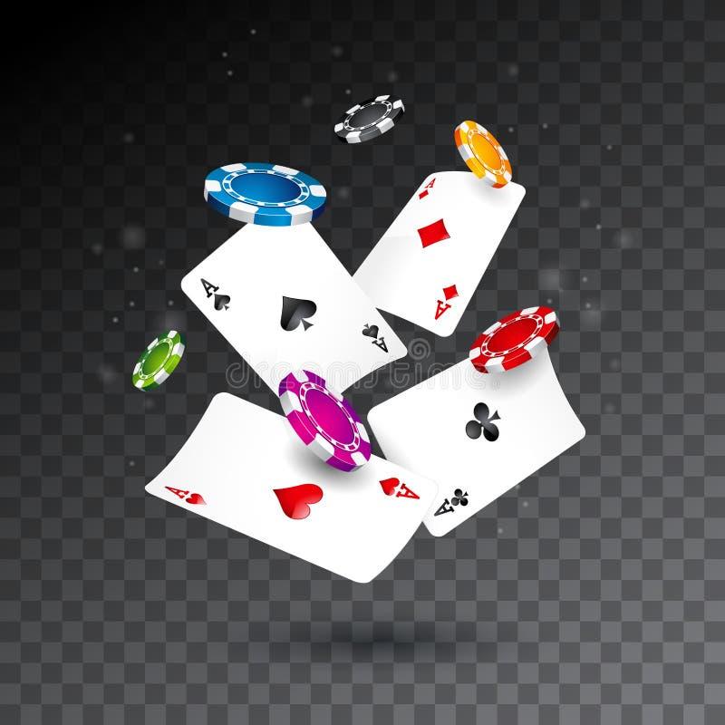 Microplaquetas do casino e ilustração de queda realísticas dos cartões do pôquer no fundo transparente Projeto de conceito de jog ilustração stock