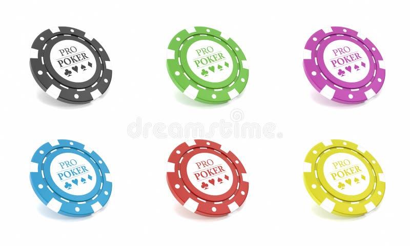 Microplaquetas do casino isoladas no bacgkround branco ilustração 3D ilustração stock