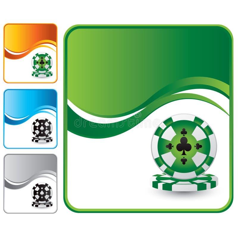 Microplaquetas do casino no fundo da onda verde ilustração do vetor