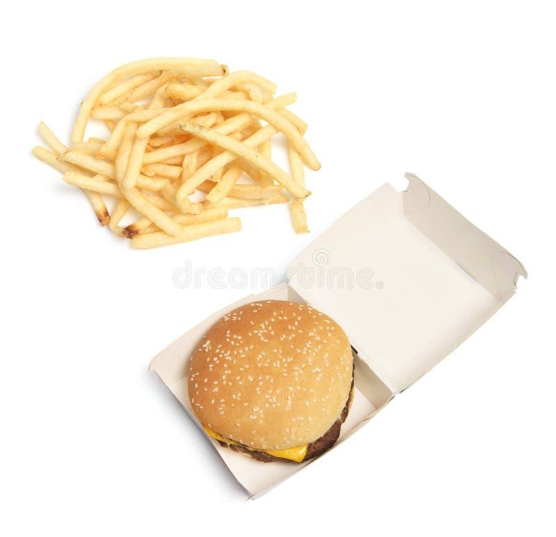 Microplaquetas do Hamburger e de batata imagem de stock royalty free