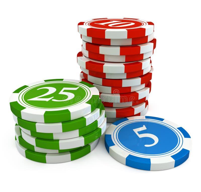 Microplaquetas do jogo do casino ilustração royalty free