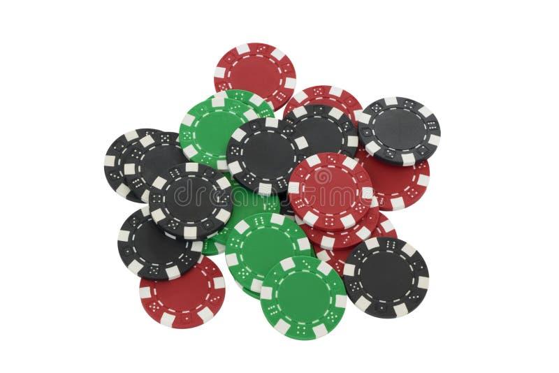 Microplaquetas do póquer isoladas no branco fotografia de stock