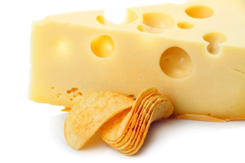 Microplaquetas e queijo foto de stock