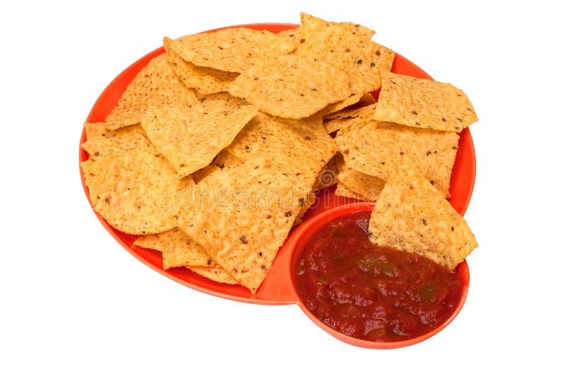 Microplaquetas e salsa de Tortilla imagem de stock royalty free