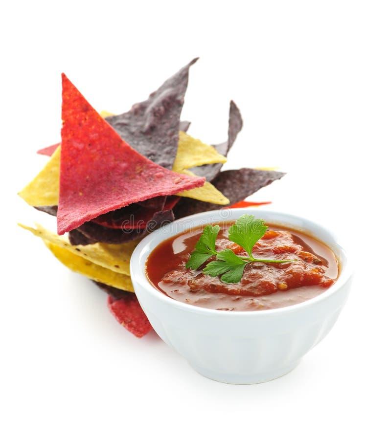Microplaquetas e salsa de Tortilla fotos de stock royalty free