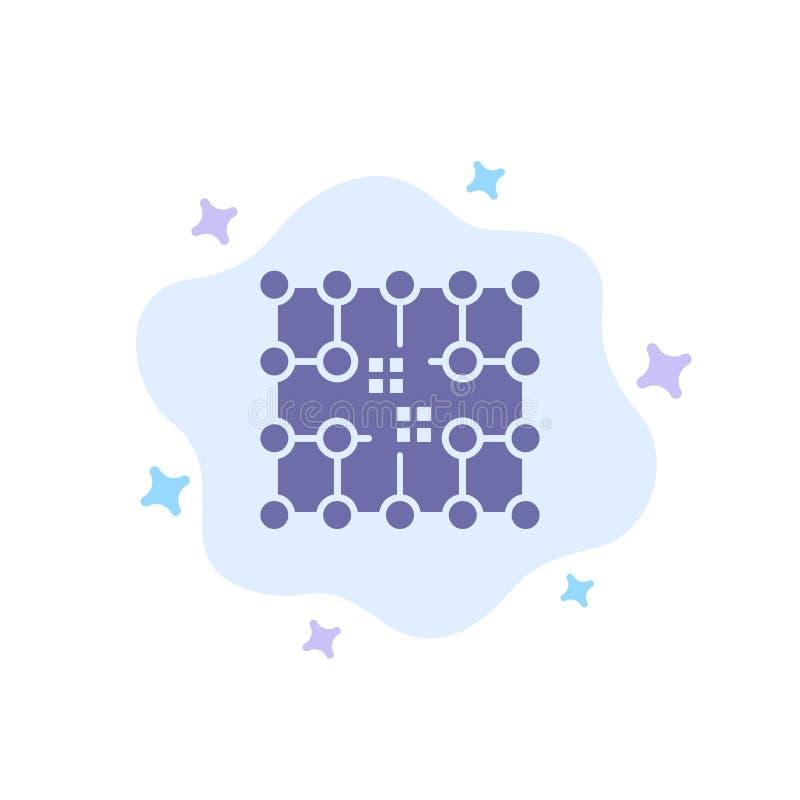 Microprocesador, conexión, electricidad, rejilla, icono azul material en fondo abstracto de la nube ilustración del vector