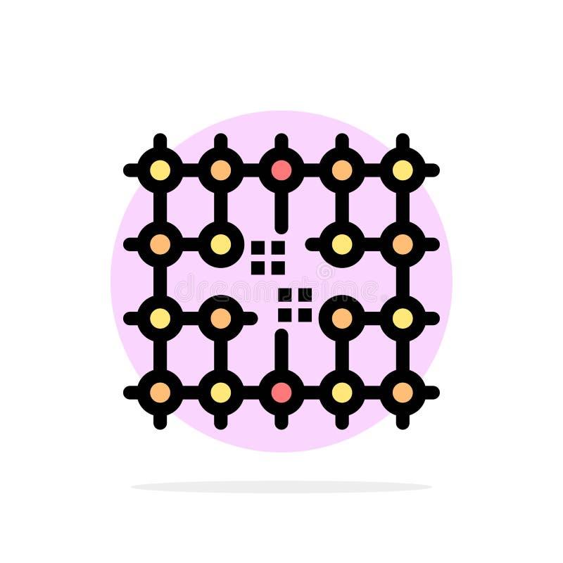 Microprocesador, conexión, electricidad, rejilla, icono plano del color de fondo abstracto material del círculo ilustración del vector