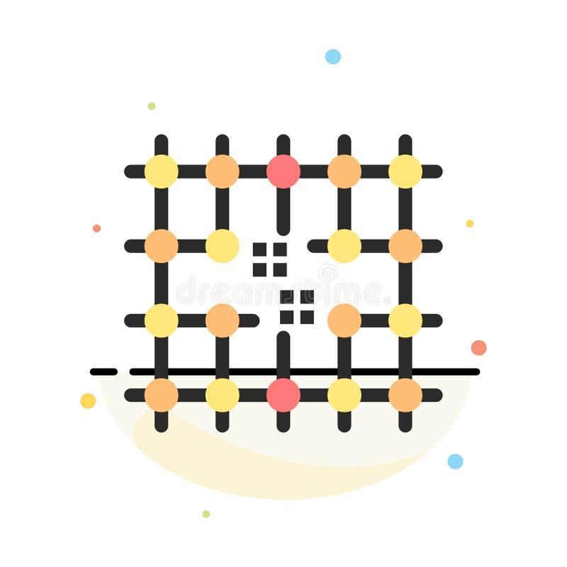 Microprocesador, conexión, electricidad, rejilla, plantilla plana abstracta material del icono del color ilustración del vector