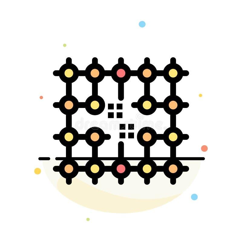 Microprocesador, conexión, electricidad, rejilla, plantilla plana abstracta material del icono del color libre illustration