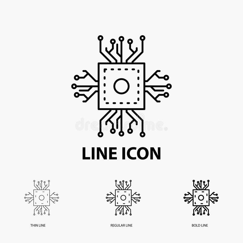 Microprocesador, CPU, microchip, procesador, icono de la tecnología en la línea estilo fina, regular e intrépida Ilustraci?n del  libre illustration