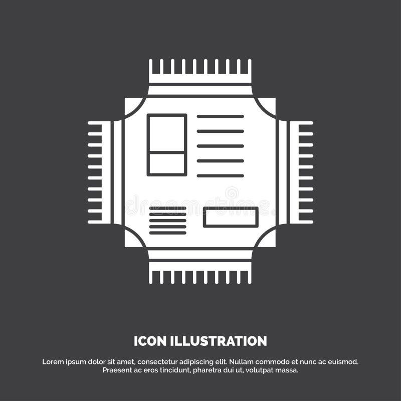 Microprocesador, CPU, microchip, procesador, icono de la tecnología s?mbolo del vector del glyph para UI y UX, p?gina web o aplic ilustración del vector