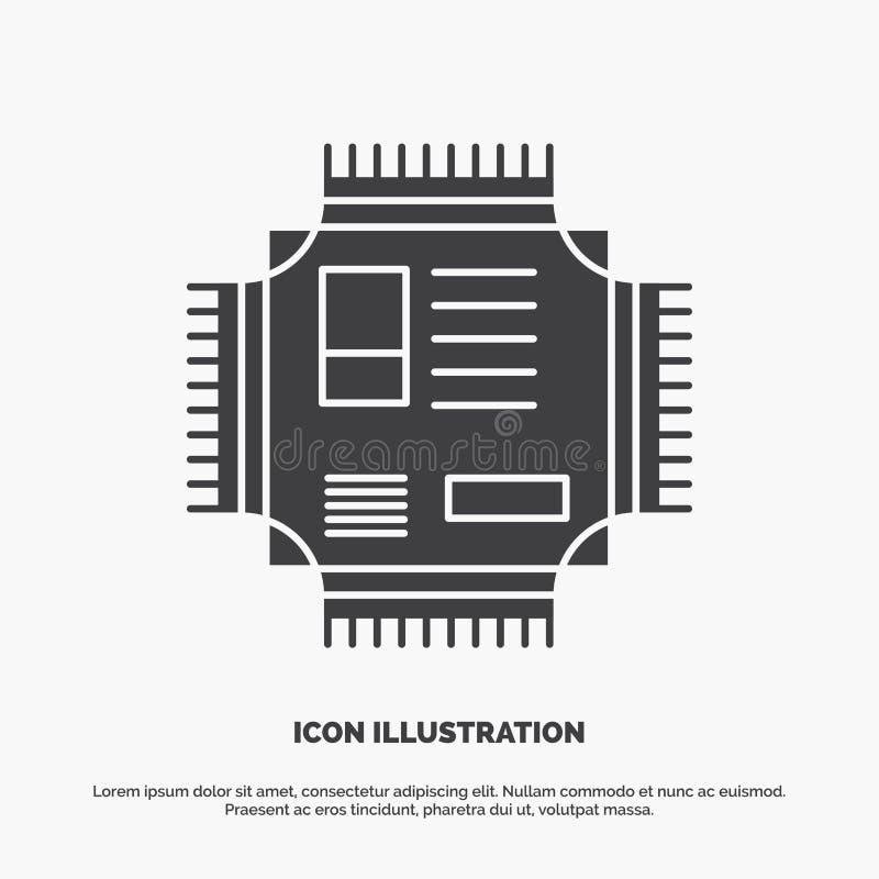 Microprocesador, CPU, microchip, procesador, icono de la tecnolog?a s?mbolo gris del vector del glyph para UI y UX, p?gina web o  ilustración del vector