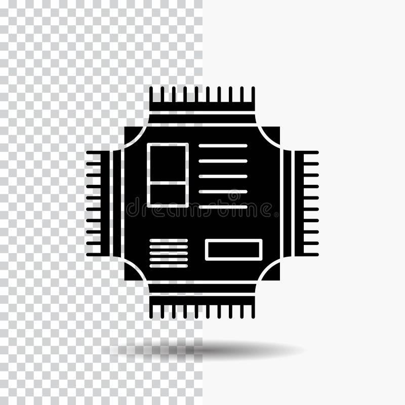 Microprocesador, CPU, microchip, procesador, icono del Glyph de la tecnolog?a en fondo transparente Icono negro libre illustration