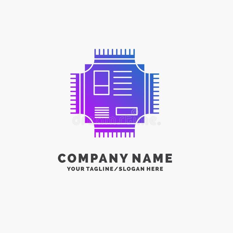 Microprocesador, CPU, microchip, procesador, negocio p?rpura Logo Template de la tecnolog?a Lugar para el Tagline stock de ilustración
