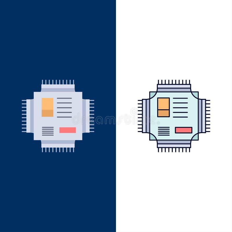 Microprocesador, CPU, microchip, procesador, vector plano del icono del color de la tecnología ilustración del vector