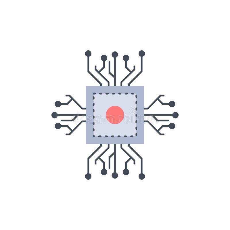 Microprocesador, CPU, microchip, procesador, vector plano del icono del color de la tecnología libre illustration