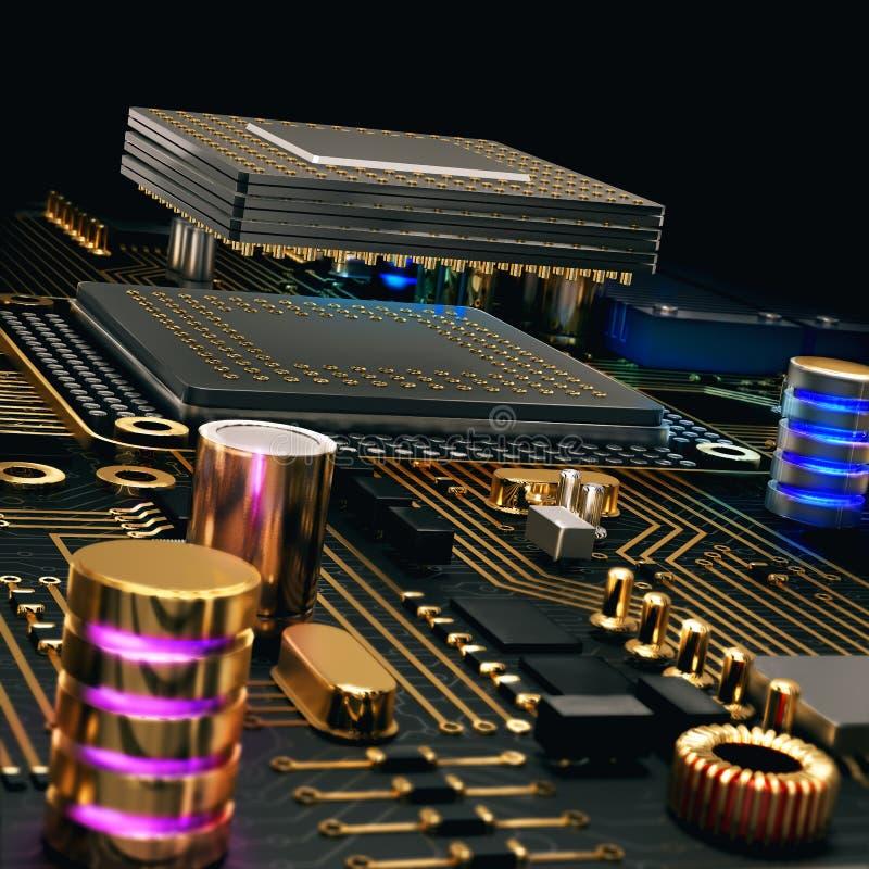 Microprocesador de circuito electrónico en el tablero de PC ilustración del vector