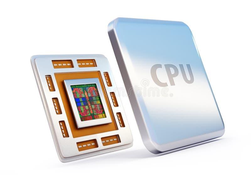 Microprocesador de la CPU del ordenador (unidad central de proceso) ilustración del vector