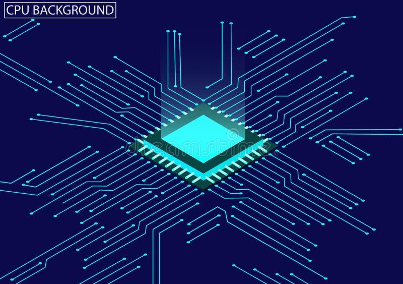 Microprocesador de la CPU y fondo isométrico de la placa de circuito stock de ilustración