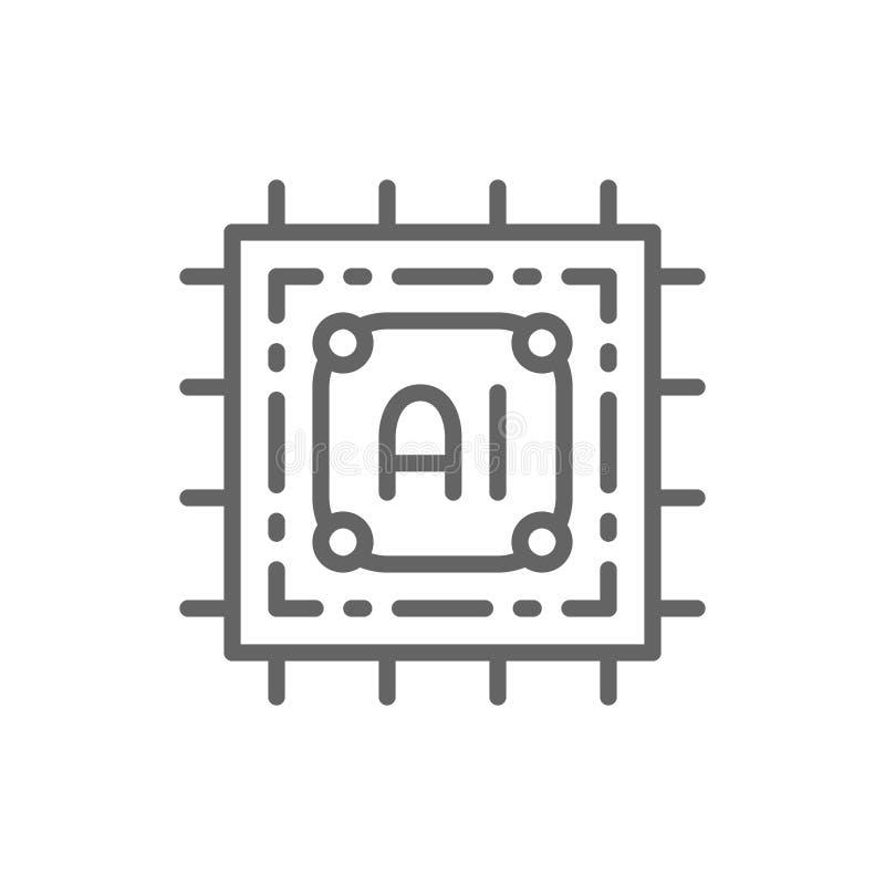 Microprocesador de la inteligencia artificial, circuito electr?nico, l?nea icono del procesador ilustración del vector